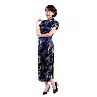 【送料無料】本場中国から直輸入 チャイナドレス 龍と鳳凰柄 ブルー ロング