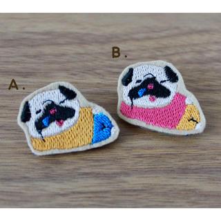 刺繍パグブローチ