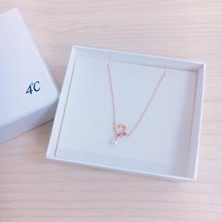 4℃ ヨンドシー K10 金 ゴールド パール ハート ダイヤ ネックレス