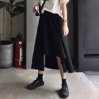 【大人気商品♥残りわずか】黒アシメスカート ロングスカート ブラックdeep