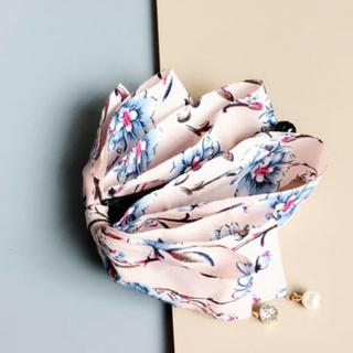 新品*花柄バナナクリップ ピンク パール