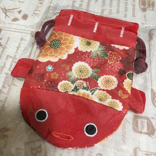 和柄 金魚 ♡巾着袋 レッド(和装小物)