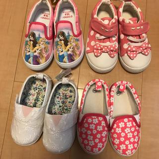 ディズニー(Disney)の新品 女の子 14〜15㎝ 靴 4足セットまとめ売り(スニーカー)