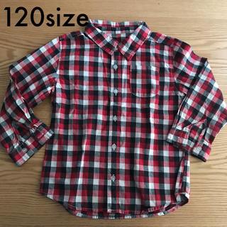 ニシマツヤ(西松屋)の長袖 チェックシャツ 120(ブラウス)
