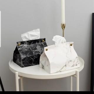 ザラ(ZARA)の大理石柄ティッシュカバー白色ティッシュケース モノトーンインテリアポーチ(ティッシュボックス)
