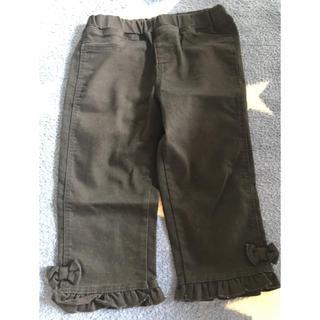 ジーユー(GU)のGU ジーユー 110 7分丈 黒 パンツ フリル リボン キッズ 女の子(パンツ/スパッツ)