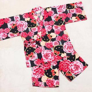 ハローキティ(ハローキティ)のハローキティ 甚平 M サイズ キティちゃん キティ 黒 ブラック 浴衣 着物(浴衣)