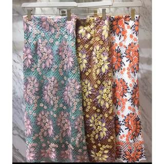 Lily Brown - お花レースロングスカート カーキMサイズ