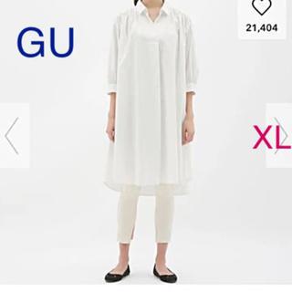 GU - 新品 ☆ ジーユー GU Aラインシャツワンピース ワンピ