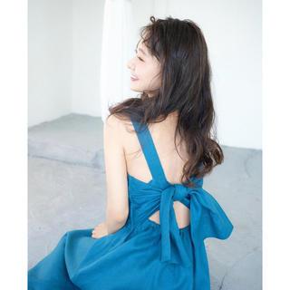 シェリーモナ(Cherie Mona)のバックリボン麻ワンピース ブルー(ロングワンピース/マキシワンピース)