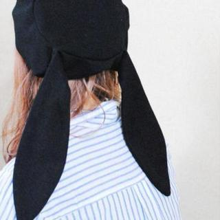 ガーリー マリンテイスト 相性抜群 うさぎ風 帽子 ブラック(ハンチング/ベレー帽)