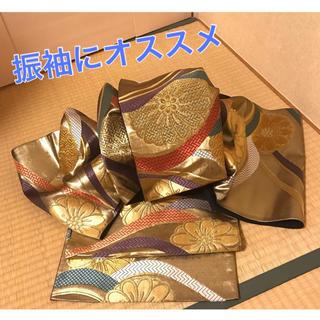 ニシジン(西陣)の☆美品振袖にオススメ☆正絹 袋帯 金色 波 菊 金糸 六通(帯)