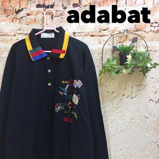 Santa Monica - adabat カラフル刺繍 配色 長袖ポロシャツ トップス ゴルフ