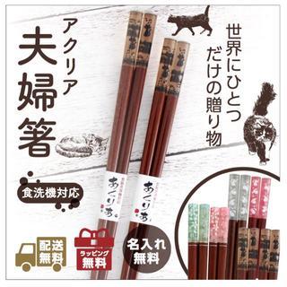 お祝い・記念に♪ 名入れ アクリア高級夫婦箸(カトラリー/箸)