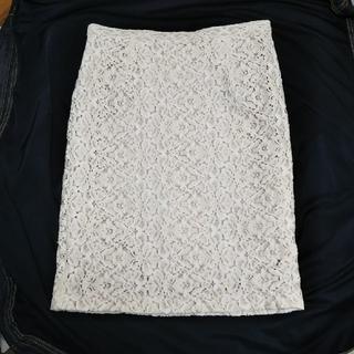 デミルクスビームス(Demi-Luxe BEAMS)のデミルクスビームス*レースタイトスカート[38] オフホワイト×ベージュ(ひざ丈スカート)