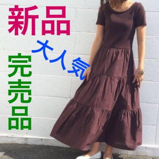 GU - 【新品】GU 布帛コンビネーションワンピース 半袖 ティアード マキシ丈 細リブ