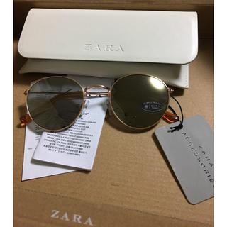 ZARA - 完売品 ザラ ブラウン ラウンド メタル ミラー サングラス ボストン ゴールド
