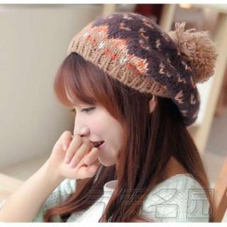 ボンボン付きかわいい ニット ベレー帽 ブラウン(ハンチング/ベレー帽)