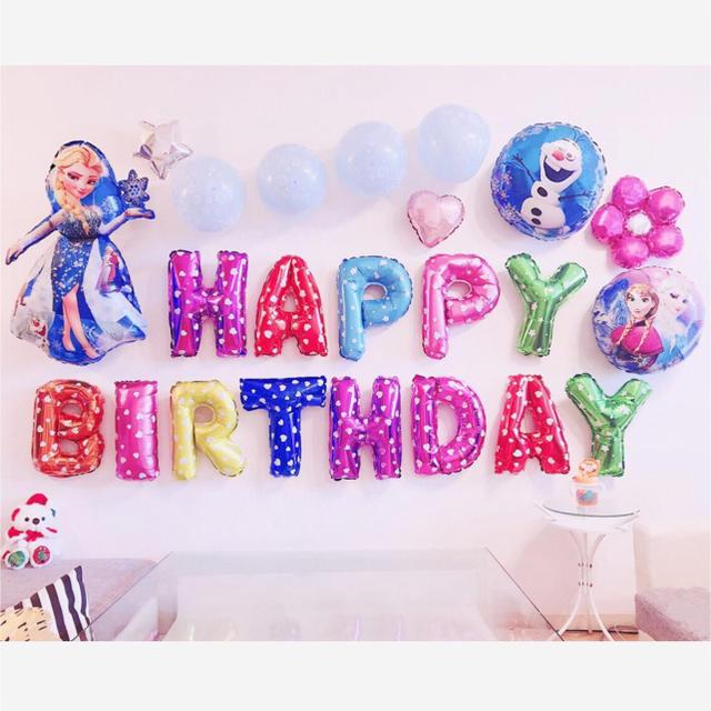 アナと雪の女王の誕生日バルーンセット♡文字カラー変更可♡送料無料 エンタメ/ホビーのおもちゃ/ぬいぐるみ(キャラクターグッズ)の商品写真