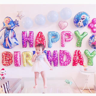 アナと雪の女王の誕生日バルーンセット♡文字カラー変更可♡送料無料(キャラクターグッズ)