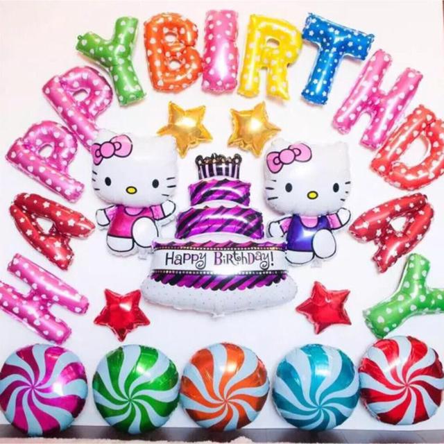 キティーちゃんの誕生日バルーンセット♡文字カラー変更可♡送料無料 エンタメ/ホビーのおもちゃ/ぬいぐるみ(キャラクターグッズ)の商品写真