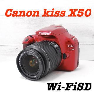 キヤノン(Canon)の❤️オシャレなレッドカラー❤️スマホへ転送❤️Canon kiss X50(デジタル一眼)