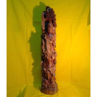 最高級インド高級白檀 観音菩薩立像特大80cm一木彫り手彫り希少価値 9.5kg(彫刻/オブジェ)