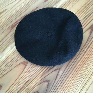 ブラック フェルトベレー帽☆(ハンチング/ベレー帽)
