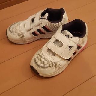 アディダス(adidas)のアディダスadidas白×紫×ピンクスニーカー16センチ(スニーカー)