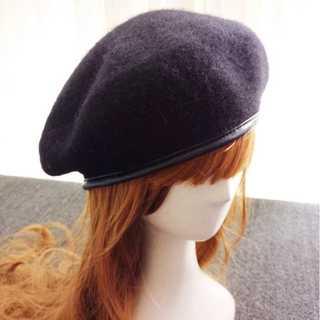パイピング ベレー 帽 黒 かわいい レディース ウール 帽子 ニット ブラック(ハンチング/ベレー帽)