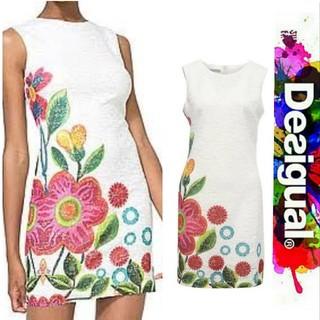 デシグアル(DESIGUAL)のDesigual ⭐️数回 着用の美品⭐️ 花柄華やか レースワンピース(ひざ丈ワンピース)