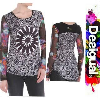 デシグアル(DESIGUAL)のDesigual ⭐️数回 着用の美品⭐️サテンにカラフルチュール素材袖ブラウス(シャツ/ブラウス(長袖/七分))