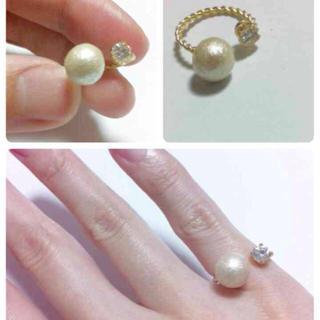 コットンパールとビジューのピンキーリング(リング(指輪))