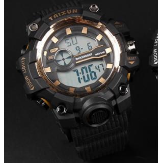 新品☆送料無料 TAIXUN 腕時計デジタル多機能LEDブラック×ゴールド(腕時計(デジタル))