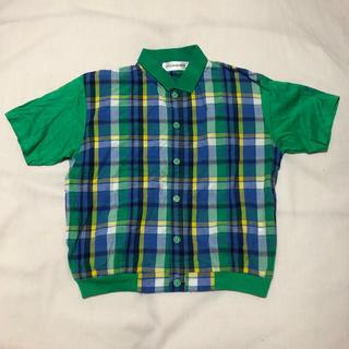 サンローラン(Saint Laurent)のyvessantlaurent イヴ・サンローラン 半袖 チェック シャツ 緑(Tシャツ/カットソー)