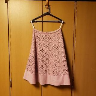 エフデ(ef-de)の美品 エフデ ピンク 花柄 膝丈スカート 大きいサイズ(ひざ丈スカート)