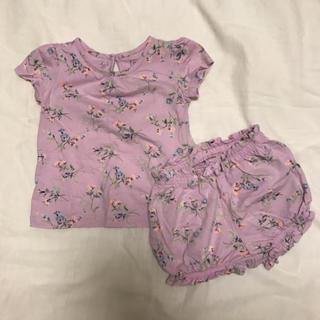 ベビーギャップ(babyGAP)のbabyGAP 80サイズ 花柄 セットアップ Tシャツ ショートパンツセット(Tシャツ)