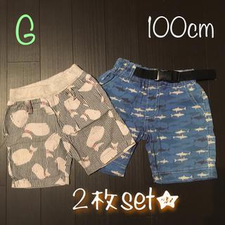 100cm☆男の子半ズボン2枚セット(パンツ/スパッツ)