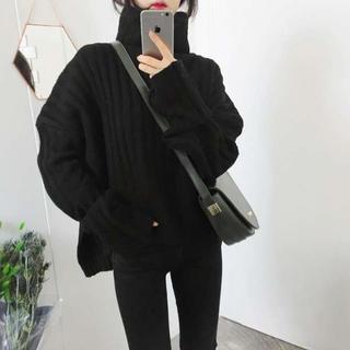 大人気♥タートルネック オーバーサイズ リブニット セーター トップス ブラック(ニット/セーター)
