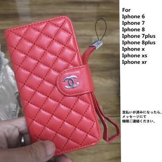 CHANEL - Iphone スマホケース 手帳型 CH002 RED