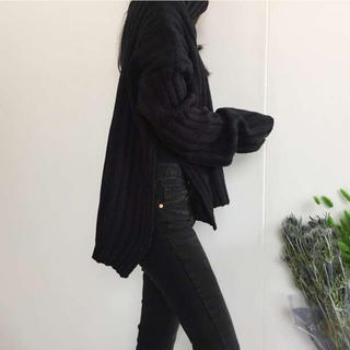 タートルネック オーバーサイズ リブニット セーター トップス ブラック(ニット/セーター)