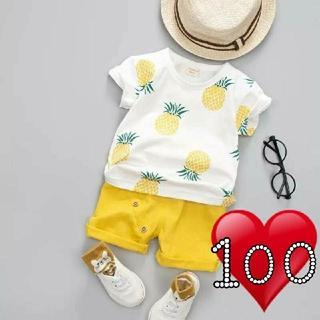 【即購入OK】子供服 キッズ ベビー パイナップル柄 セットアップ(Tシャツ/カットソー)