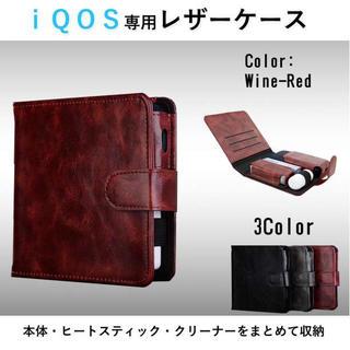 ☆まとめて収納☆ IQOS アイコスケース 手帳型 ショート ワインレッド(タバコグッズ)
