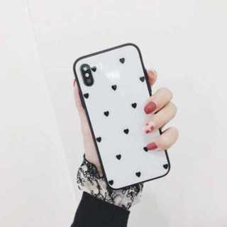 ?(白色黒ハート、iphone7・8) iphoneケース ハートドット柄