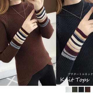 【新品】ニットセーター レディース プチタートルネックセーター 長袖 トップス(ニット/セーター)