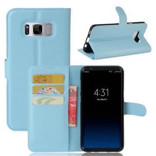 シンプル カードポケット付き 手帳型 スマホケース  GalaxyS8 ブルー(Androidケース)