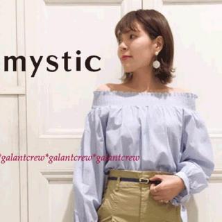 mystic - 新品ミスティック★袖リボン★オフショルOKシャーリングストライプブラウス