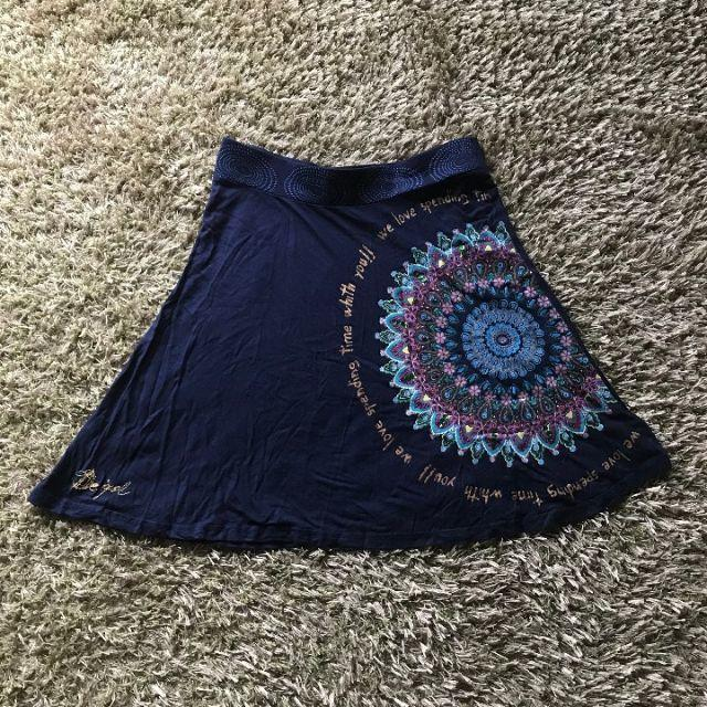 DESIGUAL(デシグアル)のDesigual【デシグアル】スカート★Lサイズ★ネイビー レディースのスカート(ひざ丈スカート)の商品写真