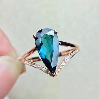 【高級宝石】天然ブルートルマリン リング k18(リング(指輪))