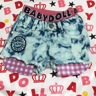 ベビードール(BABYDOLL)のBABYDOLL♡チェック柄チラ見せ♡デニムショートパンツ♡100(パンツ/スパッツ)